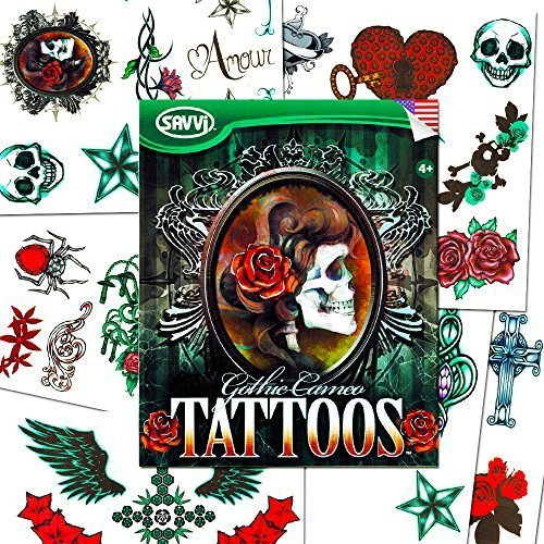 Savvi Skull Tattoos For Girls Costume Set (36 Gothic Temporary Tattoos, Including Skulls, Roses, Stars, Hearts and More!)