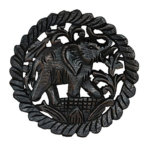 Charging Elephant Hand Carved Teak Wood Relief Panel Wall Art - Teakwood Panel
