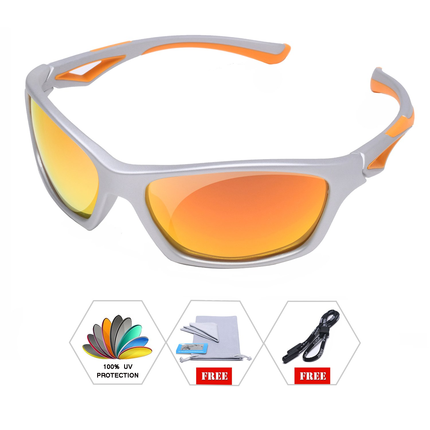 AODUOKE Sports Polarized Sunglasses For Kids Children Boys And Girls Shades With Strap TR90 Unbreakable Frame (Grey/Orange | Orange Lens)