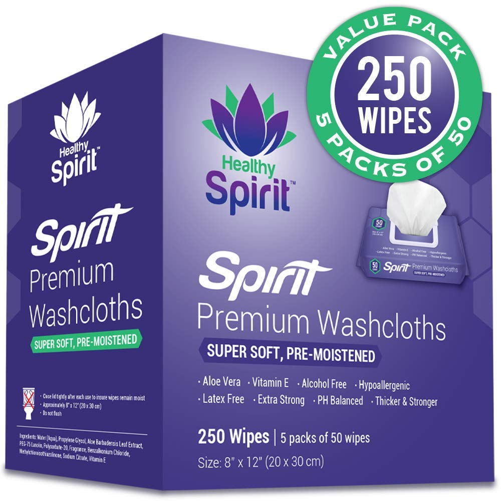 "Healthy Spirit Disposable Washcloths 250 Count - Adult Wipes Extra Large, Adult Wipes for Incontinence & Cleansing, 8""x12"", 250 Count, White"