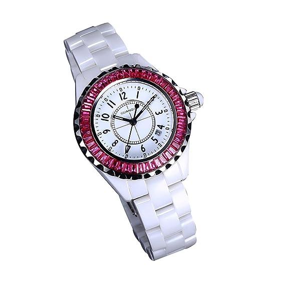Gosasa hembra cuadro Fashion relojes reloj de mujer de cerámica relojes damas Casual negro: Amazon.es: Relojes