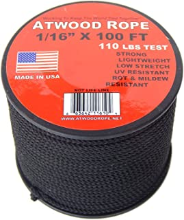 product image for Atwood Rope 1/16 inch Microcord 100 foot spool, Mosquito Cord, 2mm paracord, Micro Parachute Cord - BLACK