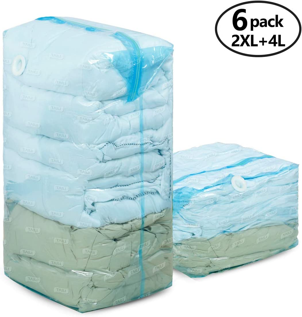 TAILI Jumbo Vacuum Space Saver Bags 6 Cube Vacuum Clothes 80% Space Saving Storage Seal Bags for Pillow Comforters Bedding(2 Jumbo+4 Large Total 1485L)