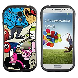 Hybrid Anti-Shock Bumper Case for Samsung Galaxy S4 / Abstract Colorful