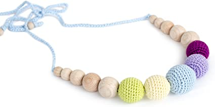 Teether Chain for Baby Crocheted Wooden Beads Baby Jewelry