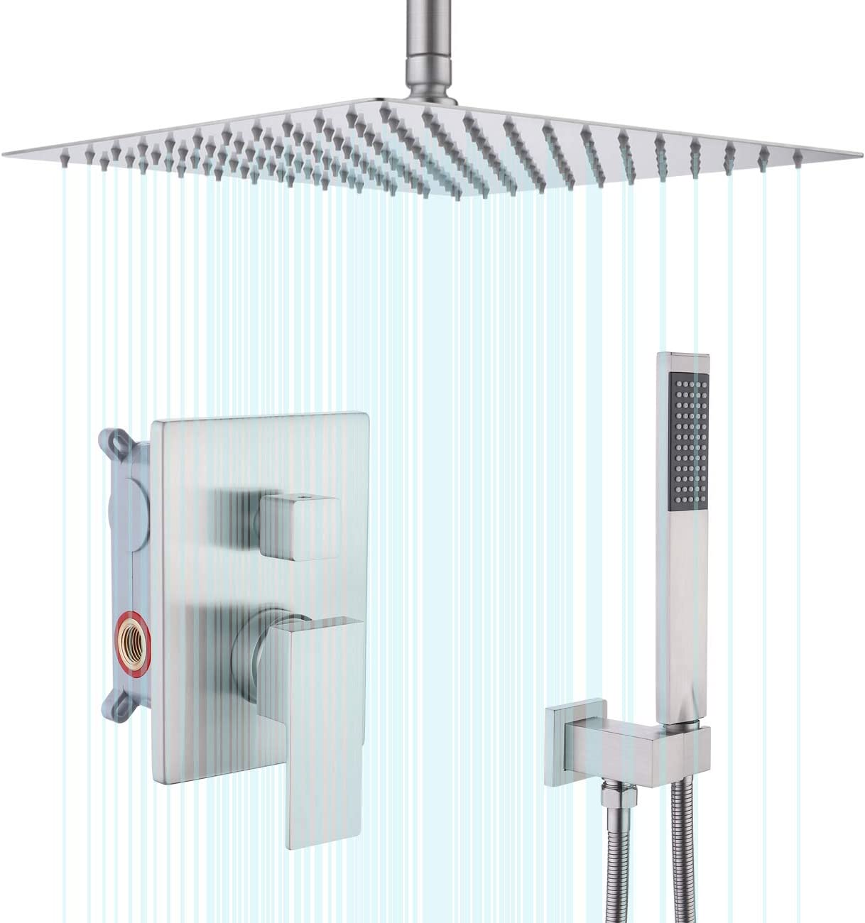 KES Shower System Ceiling Shower Head 12 Inch Rainfall Shower Head with Handheld Shower Faucets Sets Complete Shower Valve and Trim Kit Brushed Finish, XB6235S12-BN