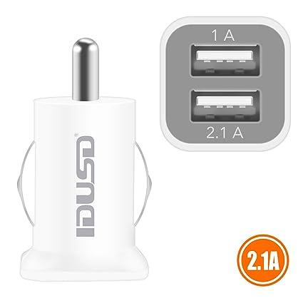 IDUSD Cargador Coche Mechero Doble Puertos Usb Mini Adaptador más pequeño 3A Compatible con iPhone Samsung S9 S8 S7 Huawei P20/10 mate google pixel y ...