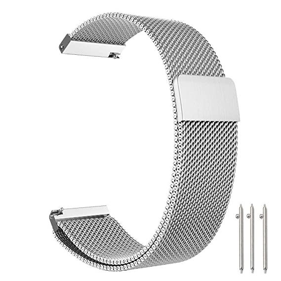 Cooldot Compatible with Huawei/Pebble/Asus/LG Smart Watch, 22mm Stainless Steel Loop Mesh Metal Strap, Replacement for Huawei Watch GT/2 ...