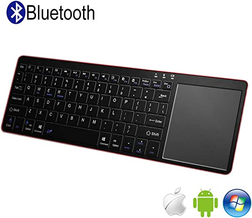 Alitoo Teclado Inalámbrico Bluetooth con Touchpad, Wireless Teclado Ergonómico Ultrafino Portatil Universal Keyboard para PC Android iOS Windows y ...