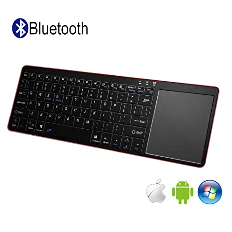 Alitoo Teclado Inalámbrico Bluetooth con Touchpad, Wireless Teclado Ergonómico Ultrafino Portatil Universal Keyboard para PC