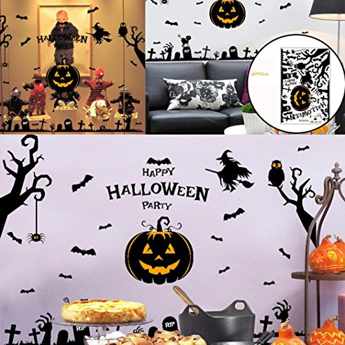LINGERY Happy Halloween Pumpkins Spooky Cemetery Witch and Bats Tomb Wall Decals Window Stickers Halloween Decorations for Kids Rooms Nursery Halloween Party