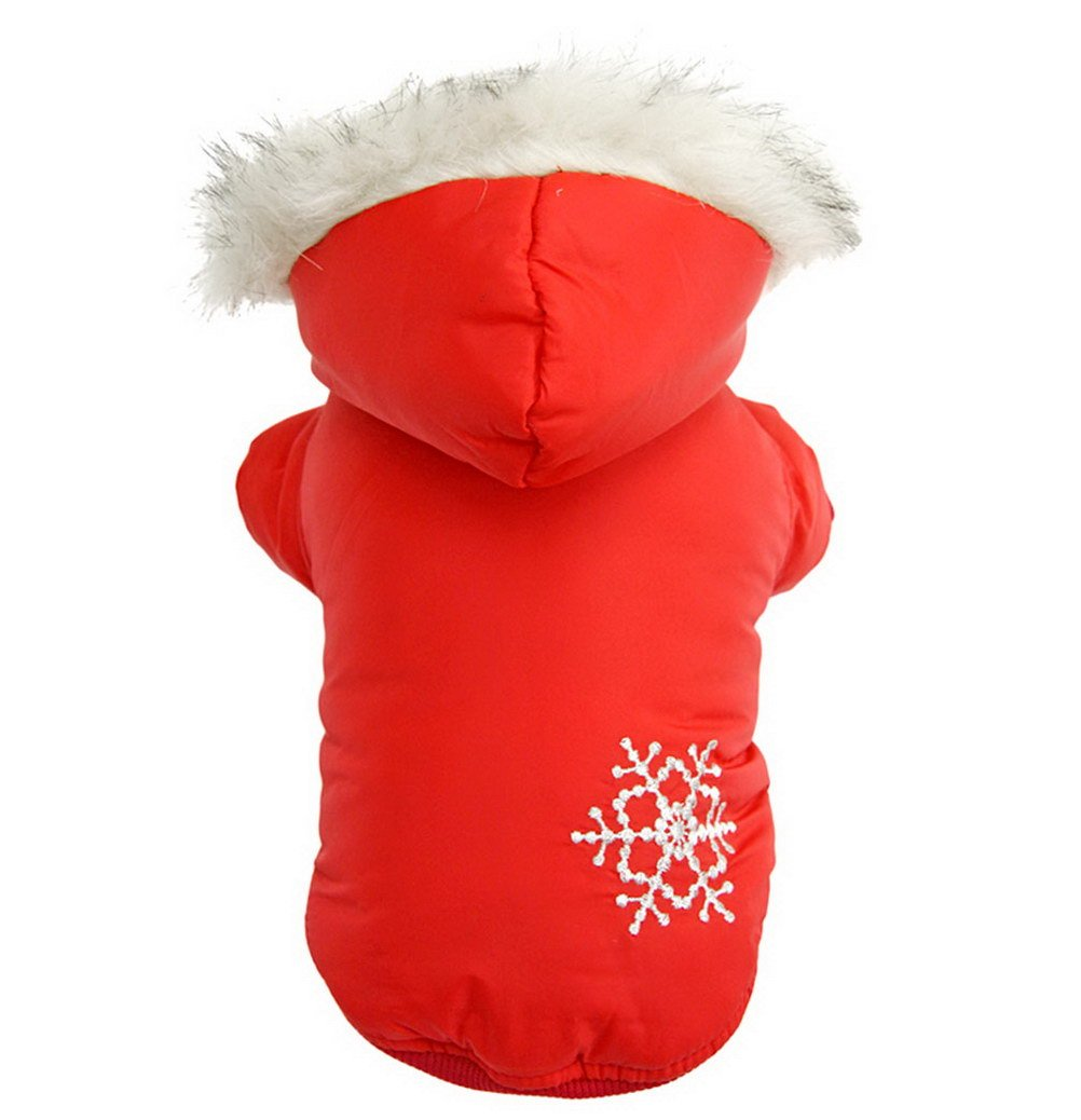 PETLOVE Reversible Small Dog Winter Coat Snowflake Jacket Removable Hood Puppy Pet Clothes Windproof Red XS