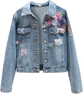 Tanming Womens Floral Embroidered Long Denim Jean Coat Outerwear