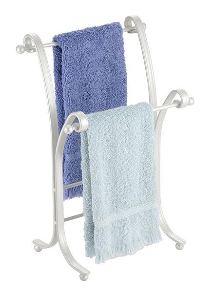 mDesign Pequeño Toallero – Práctico colgador para dos toallas pequeñas, ideal para la mesada del