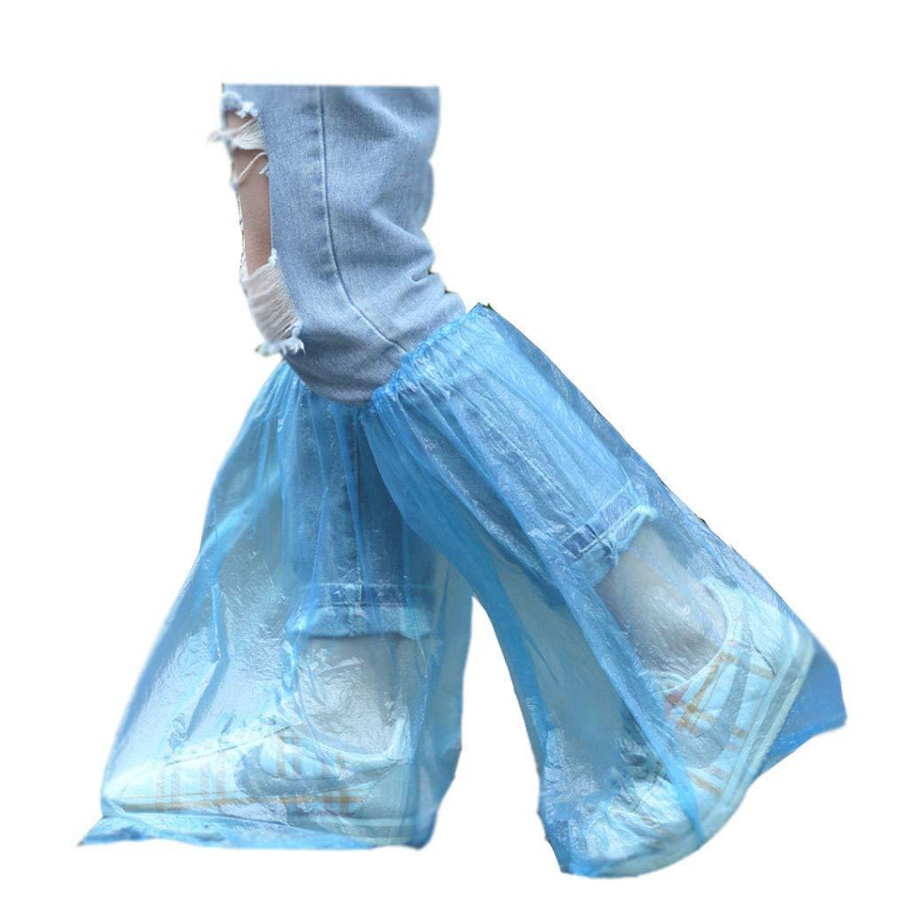 Lot de 10individuels Package jetables Couvre-chaussures Bleu Chaussures de pluie et bottes Coque plastique Long épaissir Chaussure Coque clair étanche anti-dérapant Sur-chaussures pour l'eau Bottes Coque journée Pluvieuse Utilisation Coque Aibada