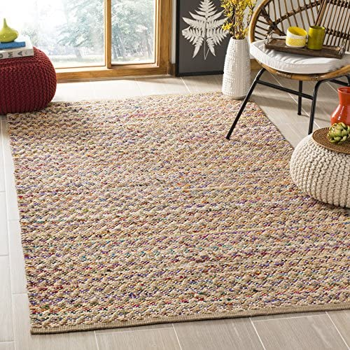 Safavieh Cape Cod Collection Red and Natural Cotton Area Rug, 8 x 10