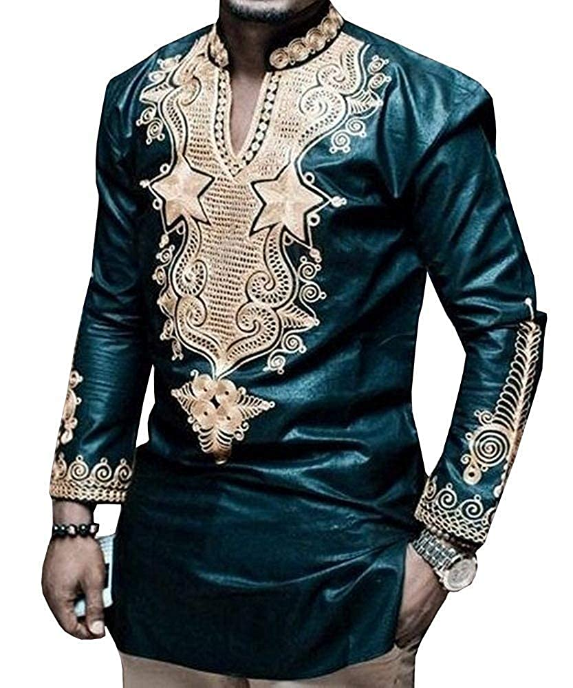 Hestenve Men's African Dashiki Casual Print Loose Cotton Tops Shirt