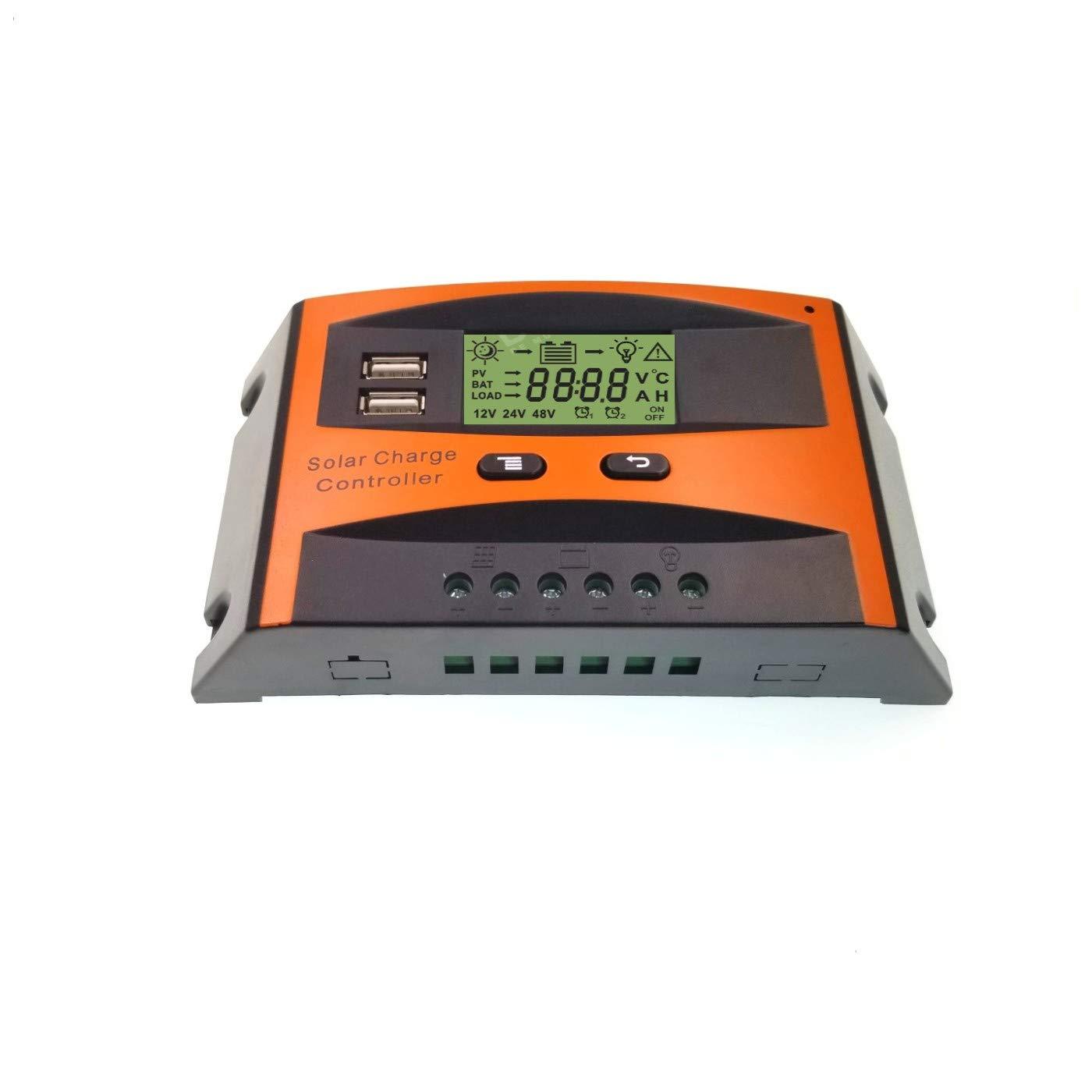 JZK Controlador de carga solar 30A 12V / 24V regulador carga Inteligente panel solar con pantalla LCD y puerto USB, protección contra sobretensión, para lámpara batería panel solar Iluminación LED