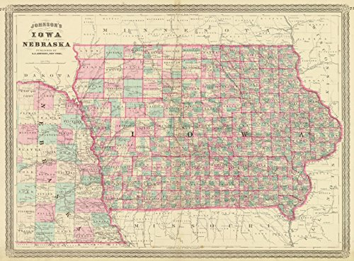 ohnson's Iowa and Nebraska | Historic Poster Art Reproduction | 44in x 33in ()