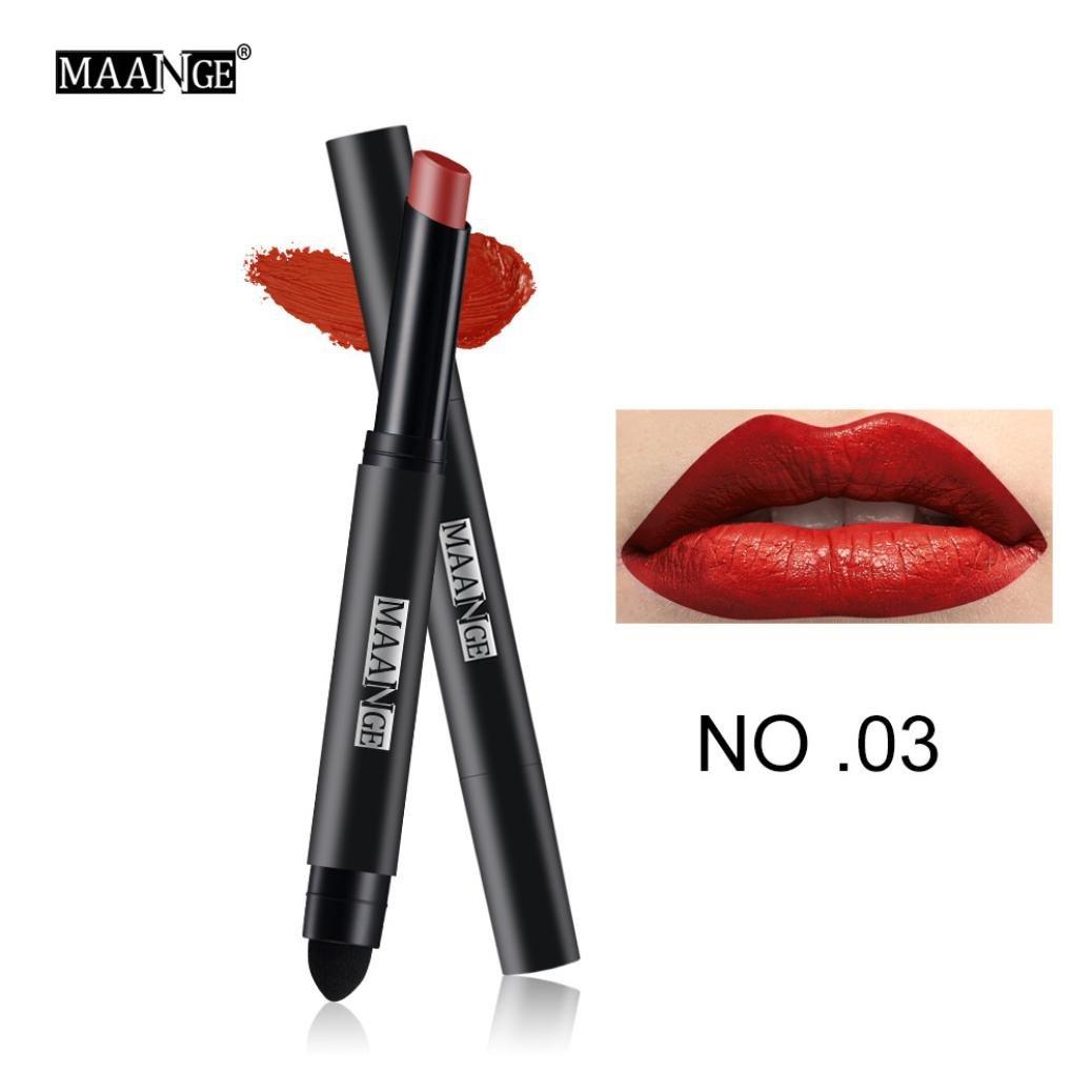 Long Lasting Lip Pen Waterproof Matte Lip Gloss Lip Liner 12 Colors Prettymenny (C)