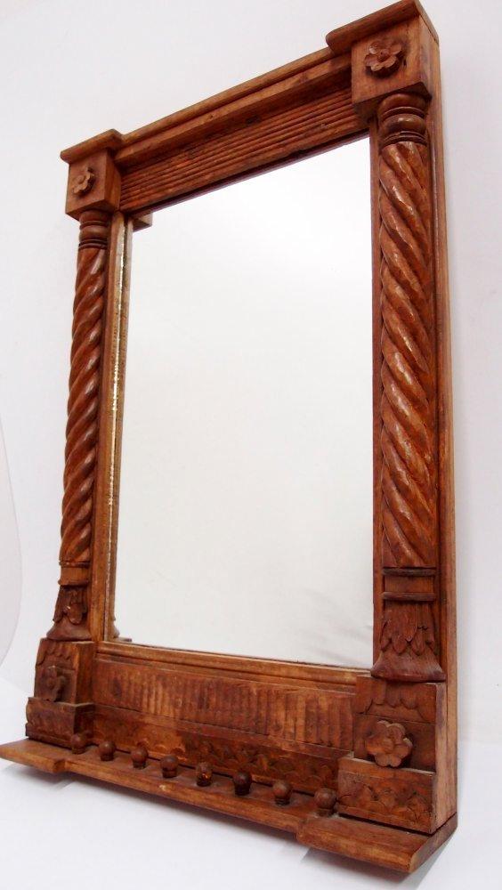 Wandspiegel Holz braun mit Kerbschnitzerei alter Flurspiegel Glas ...