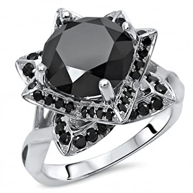 35 Ct Black Round Diamond Lotus Flower Engagement Ring 10k White