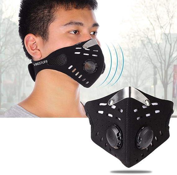Deportes Lavable Adecuado para la Prueba de Polvo con 4 Piezas de Filtro de carb/ón Activado al Aire Libre Negro Anticontaminaci/ón M/áscara Bicicleta
