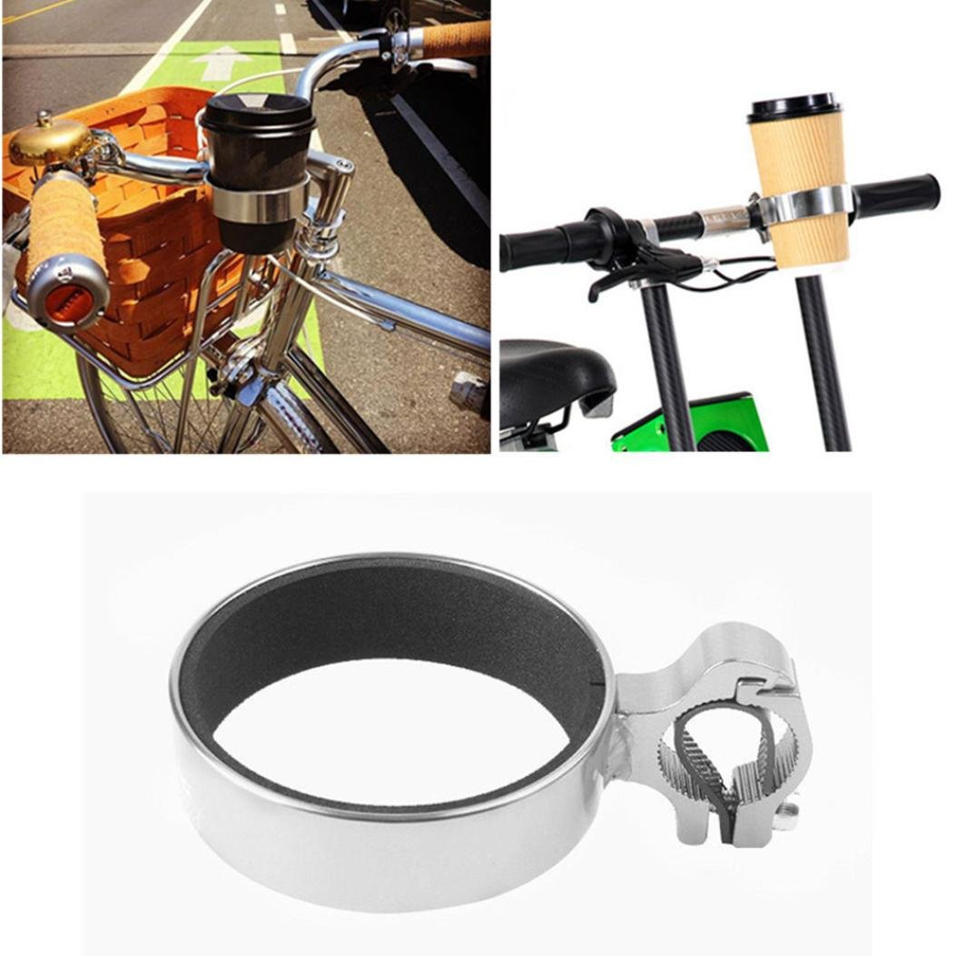 1PC Aluminum Alloy Non-Slip Bicycle Cup Holder Bike Coffee Drinks Cup Holder Handlebar Mount Enjocho Bike Handlebar Cup Holder Black