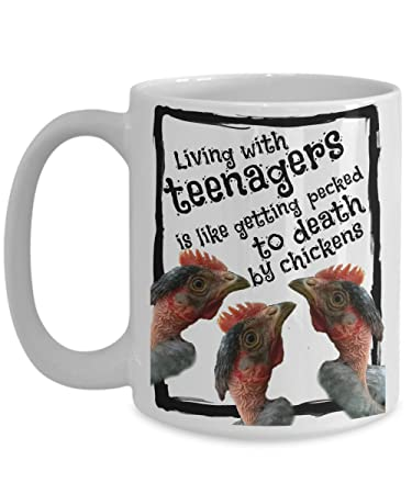 living with teenagers funny coffee mug gift for mom dad wife