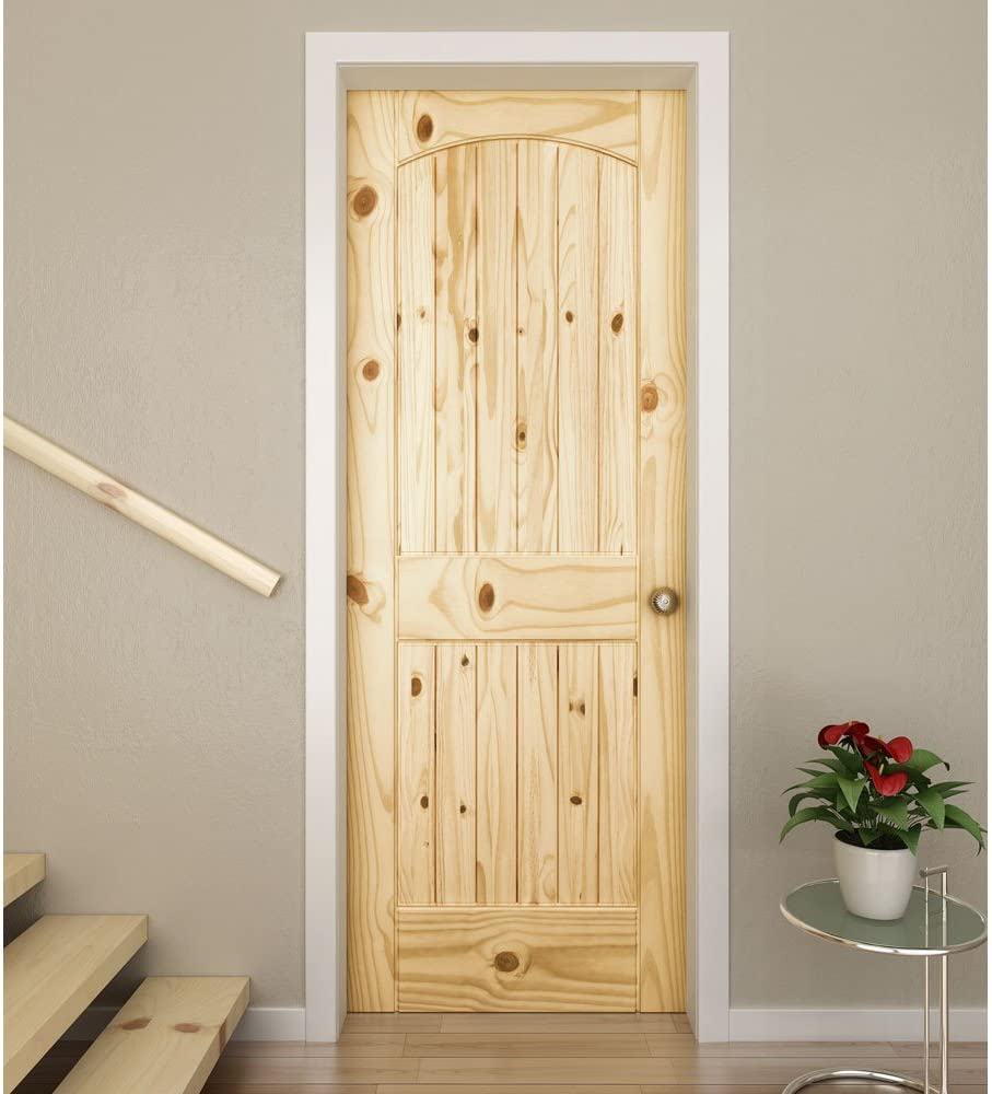 36 x 80 x 1.375 Knotty Pine Two Panel Knotty Arch-top V with U-Groove Door