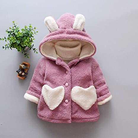 Amazon.com: Winter Girls Cute Coat Baby Kids Outerwear Ear Heart Print Warm Thick Hooded Clothes (3 years old, Purple): Beauty