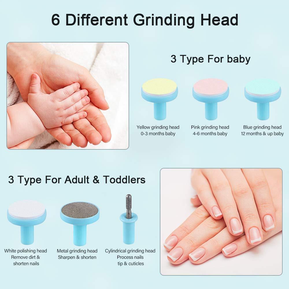 Kleinkinder Baby-Nagelschneider mit 6 Schleifk/öpfen f/ür Neugeborene RIGHTWELL Elektrischer Baby Nagelknipser mit LED-Frontlicht Baby Nagelfeile Sicher und Leise