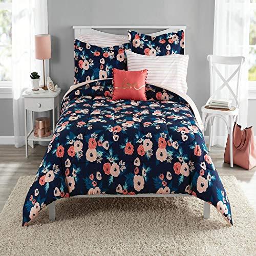 - DP 6pc Navy Blue Pink Garden Flowers Theme Comforter Twin/Twin XL Set, Stylish Stripes Design Bedding, Girls/Teens, Bright Colors Blush Coral, Elegant Boho Chic Bohemian Floral