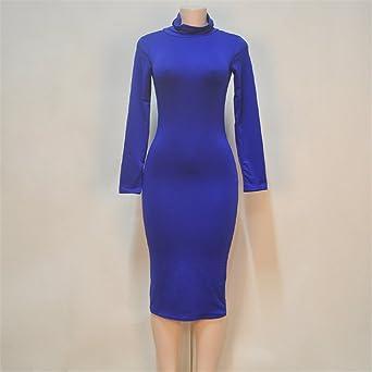 QIYUN.Z bawełniana sukienka z długim rękawem, stojąca szyja, na środku łydki, płaszcz na łydkę, opaska na ciało, sukienka damska - Bodycon m: Odzież