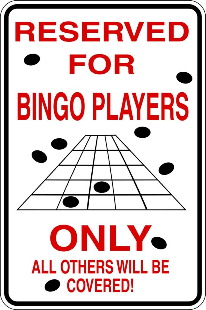 Design With Vinyl Design 711 Reserved for Bingo Players Vinyl 9 X 18 Wall Decal Sticker