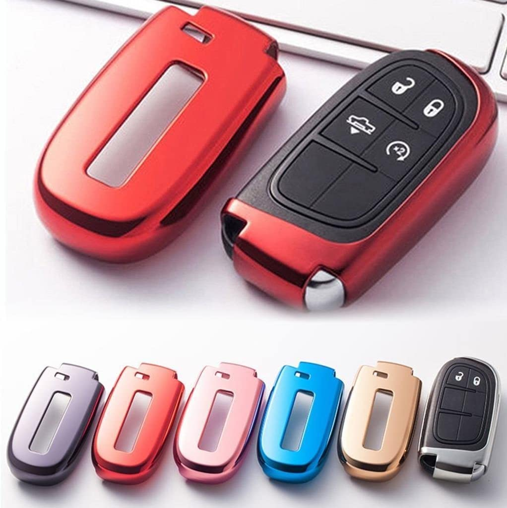 Xotic Tech 1x Glossy Red TPU Smart Key Remote Keyless Cover FOB Shell Case for Jeep/for Dodge/for Chrysler