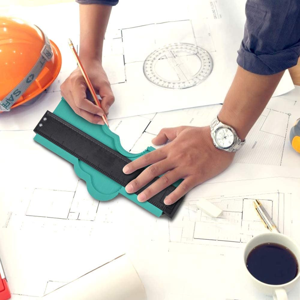 10 Inch Profile Gauge DIY Measure Ruler Contour Duplicator Gifts Contour Gauge Tool for Men Irregular Shape Multifunctional Woodworking Tool Precision Contour Gauge 10 Inch, Blue Contour Gauge