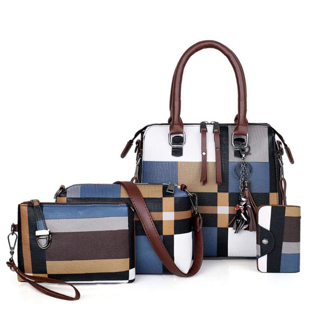 6 st PU-läder axelväskor kvinnor vardaglig tygväska stor kapacitet handväskor bärbar komposit messengerväska BLÅ