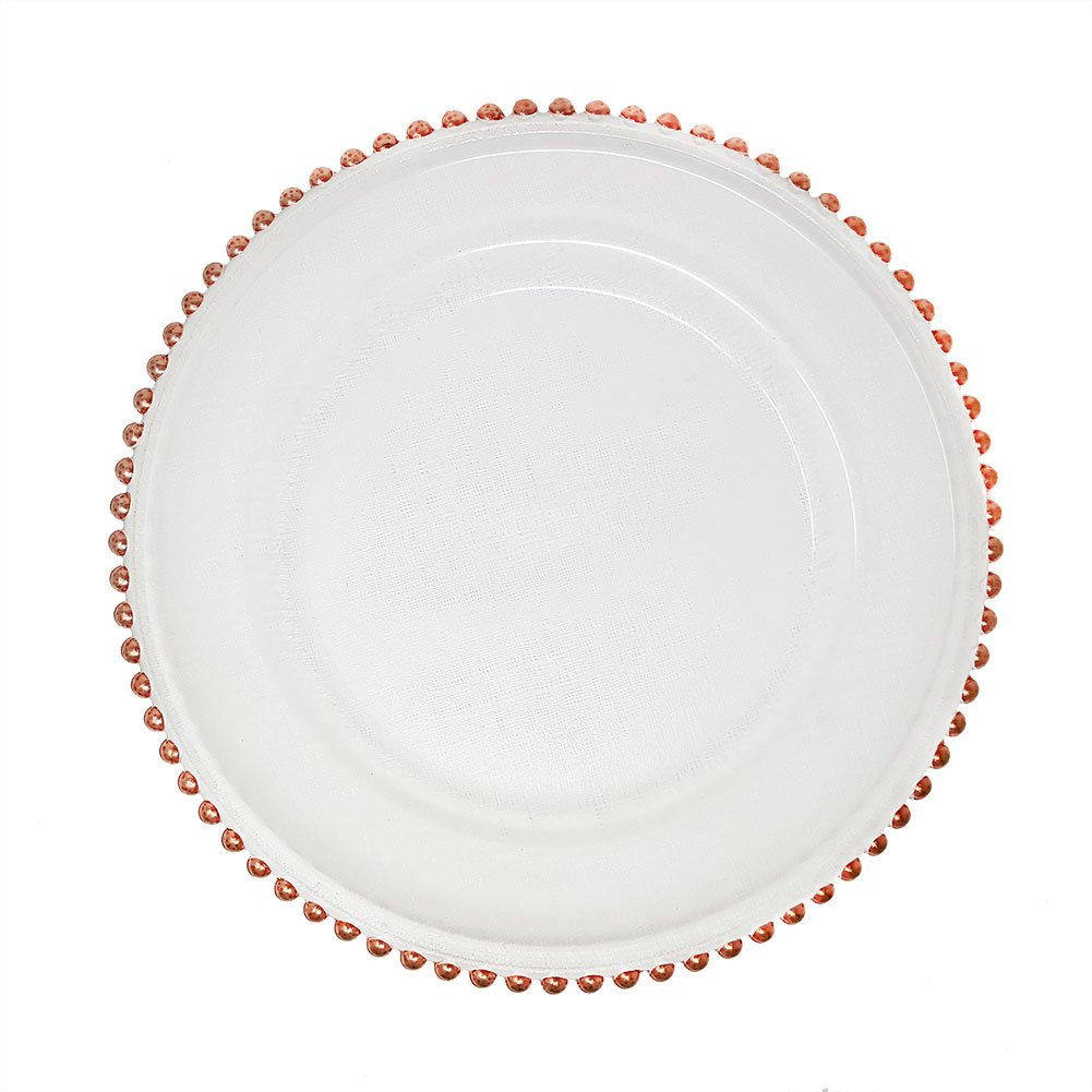 Lovely Glass Dinnerware Formal 13-Inch Beaded Rim Clear Glass Charger Plate Wedding Receptions Anniversary Dinners Modern Appeal Glass Plates (4, Gold) Unique Imports