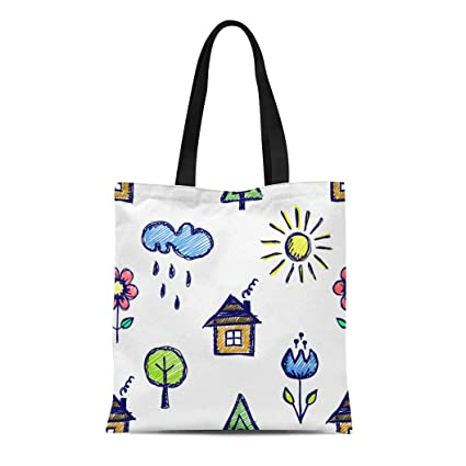 a7d2563607a7 Amazon.com: Semtomn Canvas Tote Bag Shoulder Bags Cute Childish ...