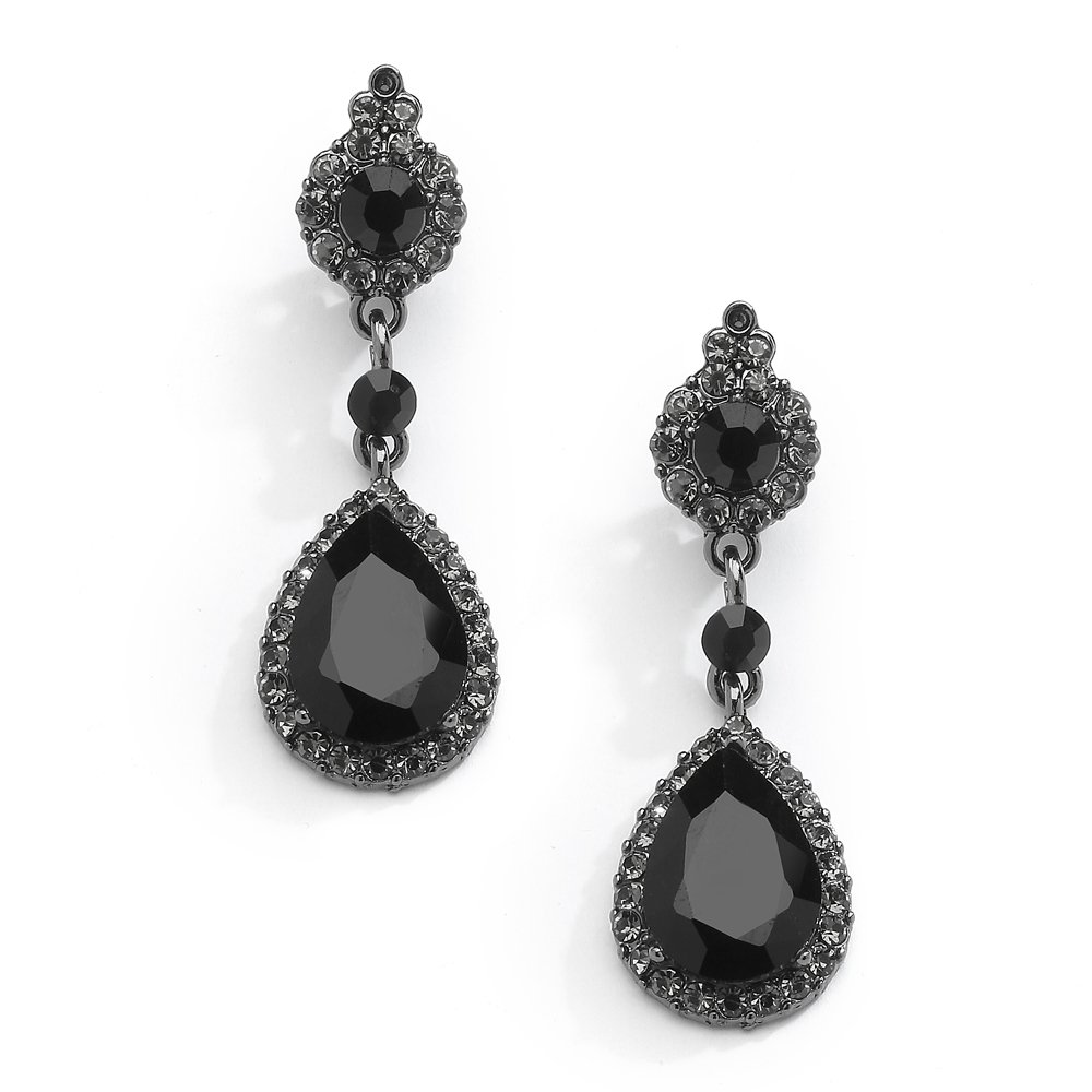 Mariell Jet Black Crystal Teardrop Dangle Earrings with Pave Frames - Ideal for Proms and Wedding Parties 4532E-BK
