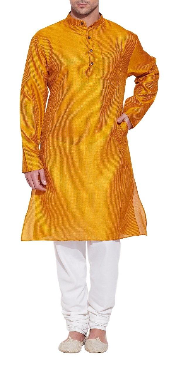 Emerald Yellow Silk Kurta for Men - Men's Indian Fashions - Polyester Dupion