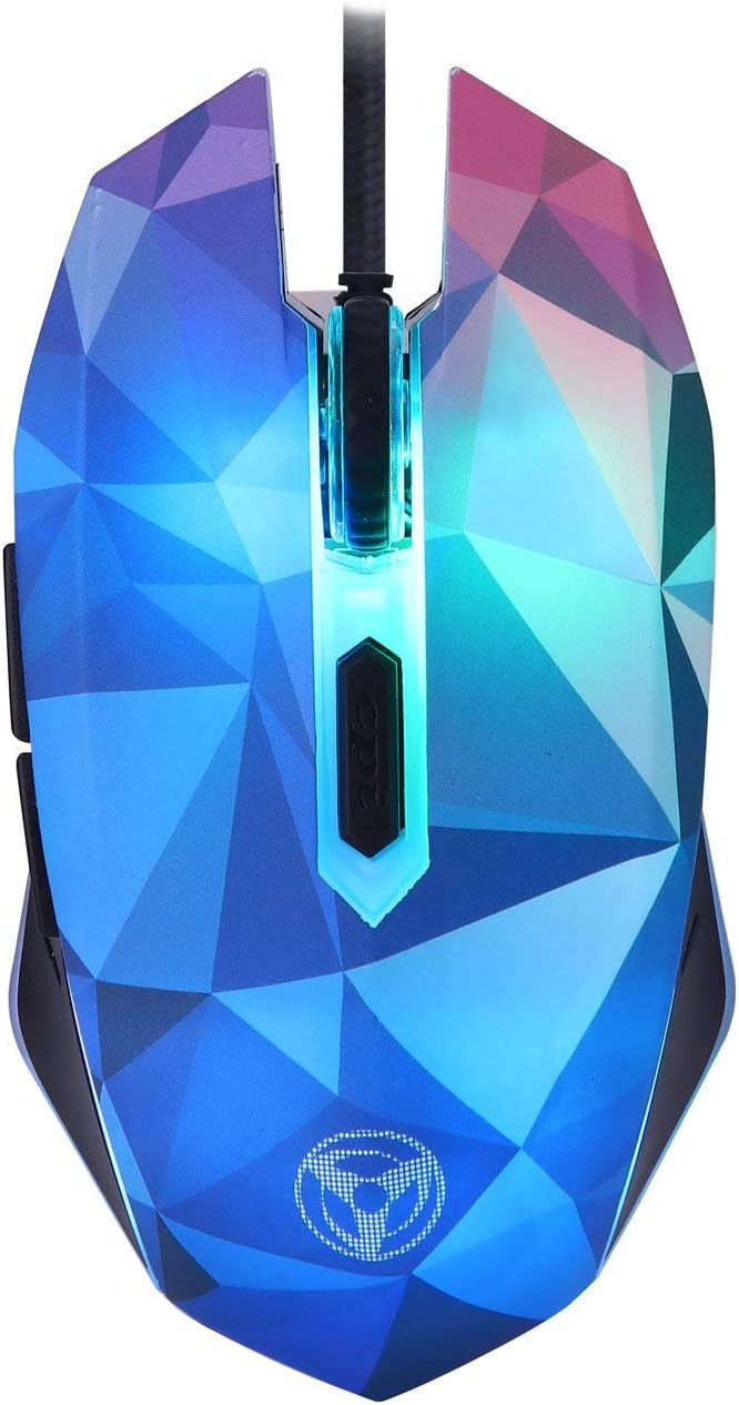 Wired Gaming Mouse, Ergonomic Optical Mice, 1000-3200 DPI 4 Levels, 6 Buttons, RGB LED Breathing Backlight, Mouse for Computer Games, Laptop, PC, Mac, Windows, Linux (Diamond Illusion Version)