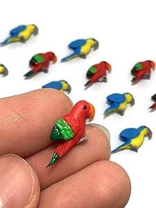 Mr_air_thai_Miniature Lot of 12 Miniature Bird Parrot Fairy Garden Supplies Animal Bird Figurine Furniture Dollhouse GD#028