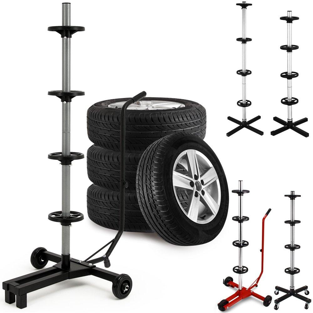 Car Wheel Rim Stand Tyre Storage on Wheels Portable Rim Tree Simple Transportation - Size Model Choice Deuba