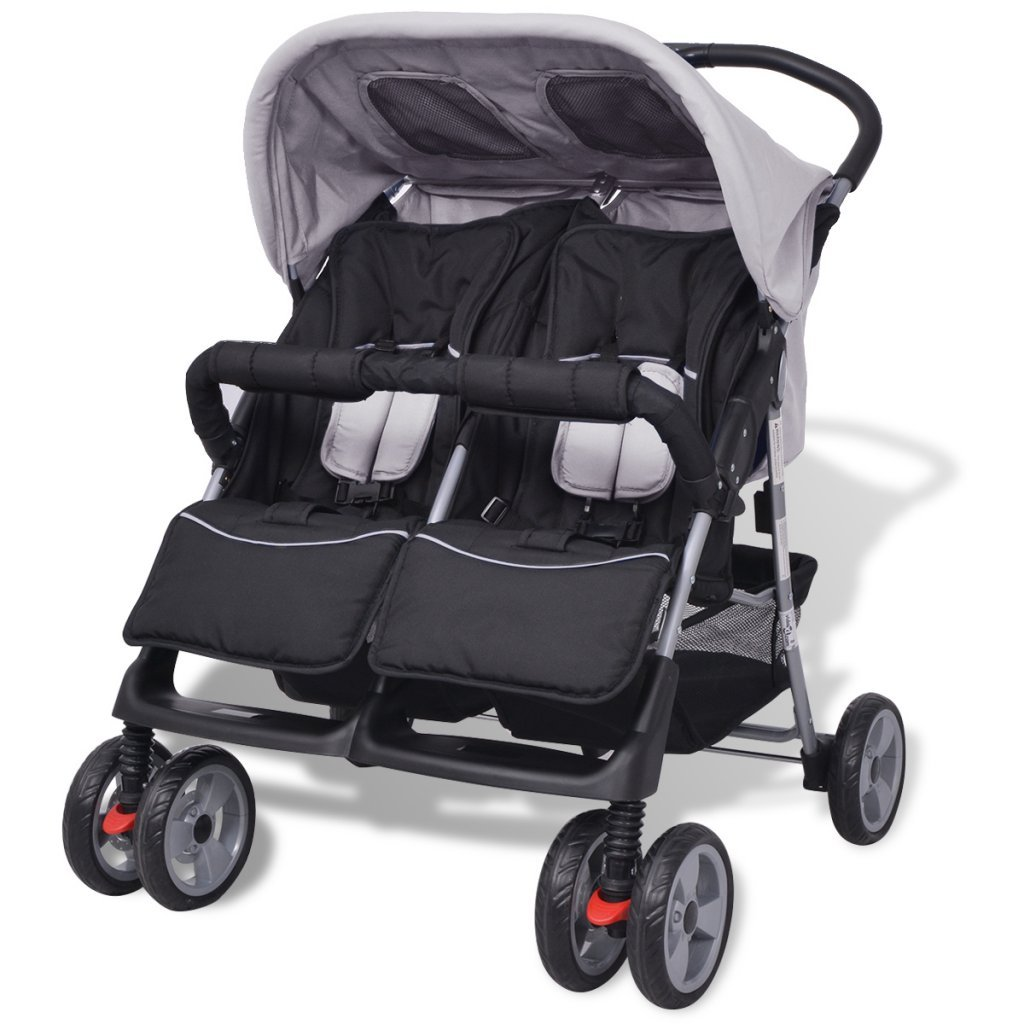Festnight Baby Twin Stroller/Pram Lightweight Pushchair - Grey and Black, Steel and Fabric, 93x68x103 cm