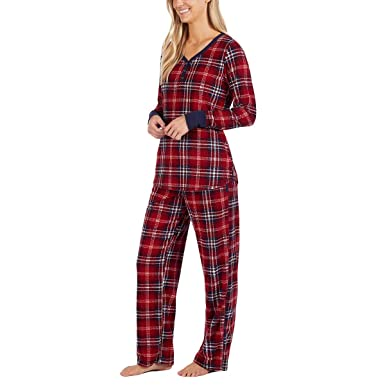 715e02aa29b5 Nautica Women s 2 Piece Fleece Pajama Sleepwear Set (New Red Plaid