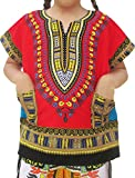 Raan Pah Muang RaanPahMuang Unisex Bright Africa Colour Children Dashiki Cotton With Pockets Shirt, 8-10 Years, Red