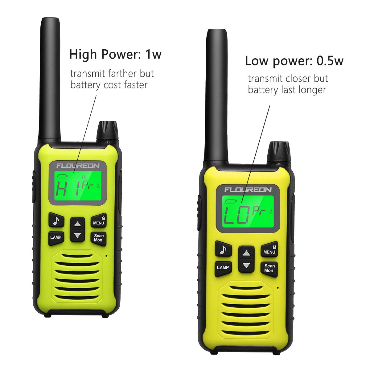 FLOUREON 4 Packs Walkie Talkies Two Way Radios 22 Channel 3000M (MAX 5000M Open Field) Long Range Handheld Talkies Talky (Yellow) by floureon (Image #9)