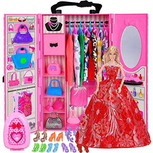 ebuddy Doll Closet Wardrobe Clothes and Accessories Storage for 11.5 Inch Girl Doll -Lot 61 Items Including Wardrobe, Trunk, Casual Wear, Haute Couture Dress, Hangers, Shoes, Bags,Comb,Mirror